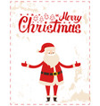 merry christmas santa claus with wide open hands vector image vector image