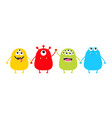 monster set holding hands cute cartoon colorful vector image