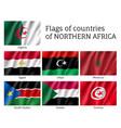 northern africa waving flag set vector image