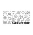 partnership horizontal outline banner or vector image