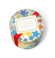 Party present box with stars and red ribbon vector image vector image