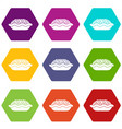 pie icon set color hexahedron vector image vector image