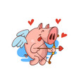 pig cupid with bow and arrow red hearts flying in vector image