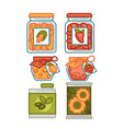 preserves or preserved food jars bottles jams and vector image