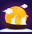rabbits together with moon and clouds decoration vector image vector image