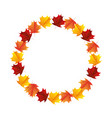 round autumn leaves decoration floral vector image