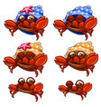 set of crabs in blue yellow shells and without it vector image vector image