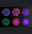 set of isolated fireworks celebration christmas vector image
