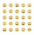 smiley flat icons set 12 vector image vector image