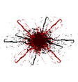 splatter black and red color background vector image vector image
