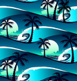 Tropical hibiscus and palm trees at sunset vector image vector image