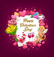 valentines day love hearts balloon flowers ring vector image vector image