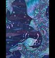 water blue dragon graphic color sketch vector image vector image