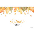 watercolor autumn sale banner of leaves and vector image