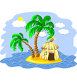 wo palm trees and hut on an is vector image
