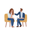 woman talking to psychotherapist and crying male vector image
