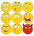 yellow cartoon emoji face collection - 2 vector image vector image