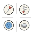 Sports equipment color icons set vector image