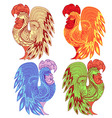 Graphic rooster figure red-yellow ornament with vector image