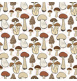 mushroom seamless pattern autumn background with vector image