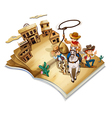 A book with an image of three cowboys vector image vector image