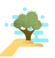 abstract hand holding tree Concept for forest vector image vector image