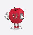 apple cartoon mascot character speaking vector image vector image