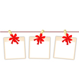 Blank Photos with Red Ribbon vector image vector image