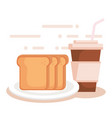 bread with coffee drink vector image vector image