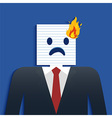Business Man Burning head vector image vector image