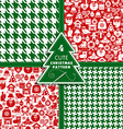 Christmas seamless pattern of icons and fashion te vector image