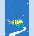 city tram rides on winter evening in snow vector image vector image