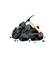 coal mine icon with black mineral rock lump and vector image vector image