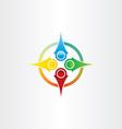 color compass arrows symbol vector image vector image