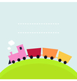 Colorful childish Train on hill with copy space vector image vector image