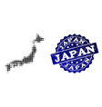 composition of halftone dotted map of japan and vector image