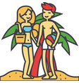 couple on beach summer vacation happy young vector image