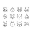 cute animals head cartoon icons set line style vector image