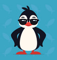 cute penguin standing in cool pose vector image