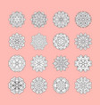 doodle white flowers set on pink background vector image vector image