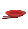 drawn plate and chopsticks food chinese vector image vector image