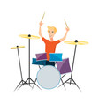 drummer playing drums on white background vector image vector image