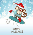 Funny Cartoon Snowboarding Monkey vector image