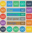 GO sign icon Set of twenty colored flat round vector image