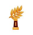 golden laurel branch award trophy statuette vector image vector image