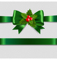 green ribbon bow with holly berry transparent vector image