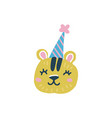 head tiger with party hat flat hand drawn vector image