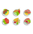 healthy dishes set top view grilled meat fish vector image vector image