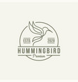 hummingbird colibri bird line logo design vector image