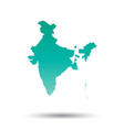 india map colorful turquoise on white isolated vector image vector image